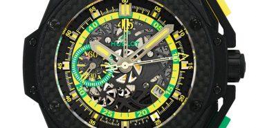 Hublot Big Bang King Power Scolari 716.CQ.1199.LR.SOl14 Automatic Ceramic case Rubber Men's watch/Unisex HUB 4245 10 ATM Sapphire Glass TransparentArabic numerals Chronograph Date Skeletonized Display Back Small Seconds Limited Edition Quick Set
