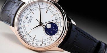 Rolex Geneve_Cellini Moonphase_50535_Automatic_Rose gold case_Crocodile Skin bracelet_Men's watch/unisex_White dial