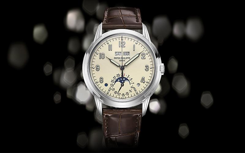 Patek Philippe Perpetual Calendar 1526 Automatic White gold Crocodile skin Men's watch/Unisex Sapphire Glass Champagne